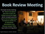 Book Review Meeting