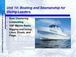 Unit 14: Boating and Seamanship for Diving Leaders