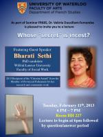 Tuesday, February 11 th , 2013  6 PM – 7 PM Room  HH 227