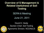 Overview of S Management &  Related Usefulness of Soil Testing