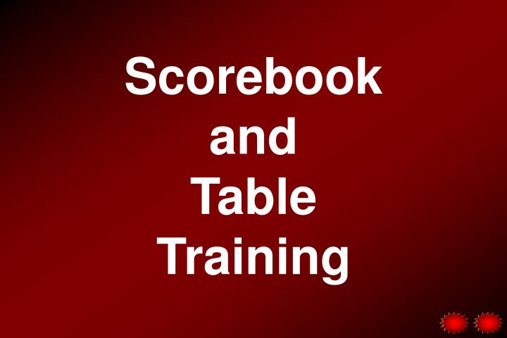 scorebook and table training n.