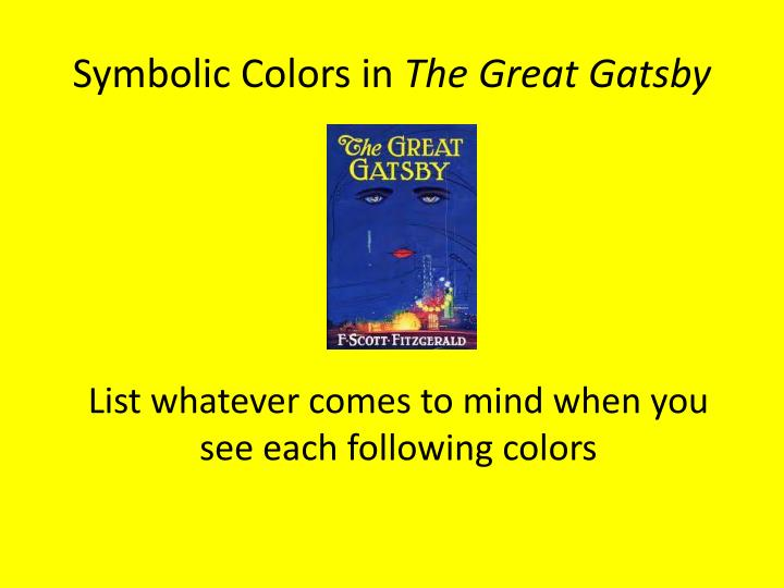 symbolic colors in the great gatsby n.