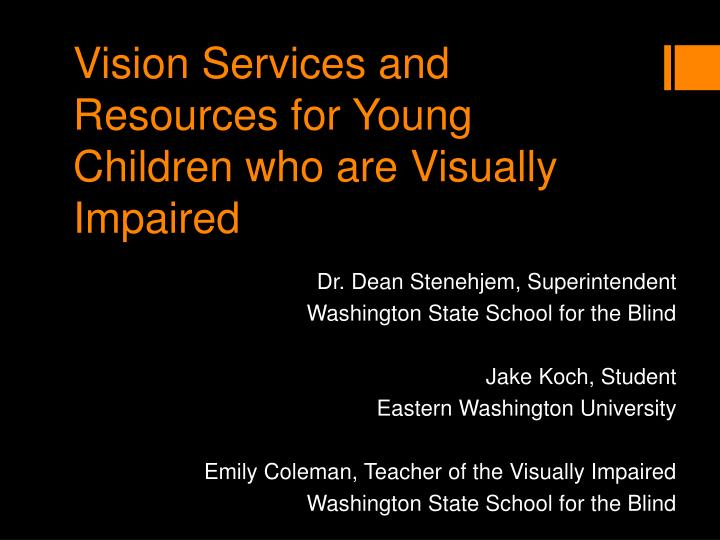 vision services and resources for young children who are visually impaired n.