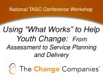 "Using ""What Works"" to Help Youth Change:   From Assessment to Service Planning and Delivery"