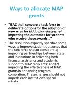 Ways to allocate MAP  grants