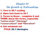 Chapter 20 The Growth of Nationalism