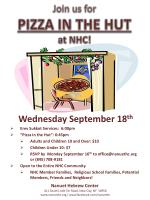 """Wednesday September 18 th Erev Sukkot Services: 6:00pm """"Pizza in the Hut"""": 6:45pm"""