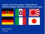 Leaders of the Axis powers- Triple Alliance (Austria-Hungary, Germany, and Italy) and Japan