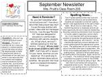 September Newsletter Mrs. Pruitt's Class Room 206