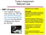 Today's Assignment: Natural Law