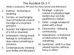 The Accident Ch 1-7 Make a vocabulary TIP chart for these words and definitions.