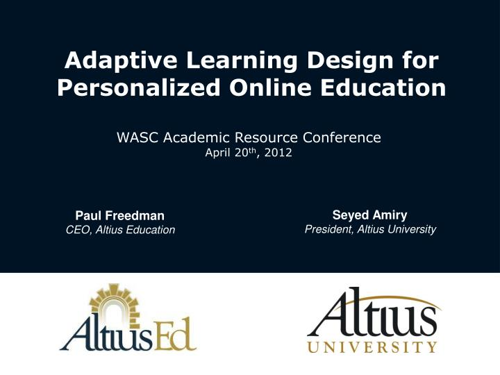 adaptive learning design for personalized online education n.