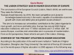 Gyula Mester THE LISBON STRATEGY 2000 IN HIGHER EDUCATION OF EUROPE