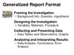 Generalized Report Format