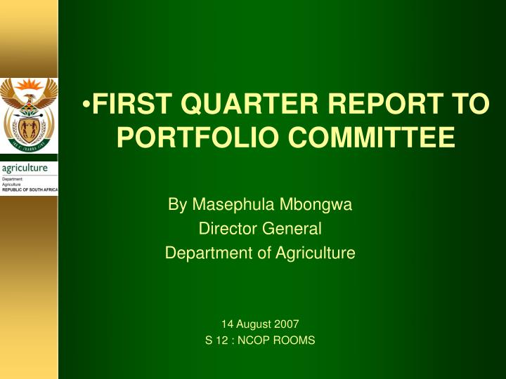 first quarter report to portfolio committee n.
