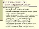 PRE WWII AGGRESSORS  Fascism in Spain/Italy/Germany