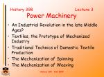 History 398 Lecture 3 Power Machinery