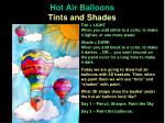 Hot Air Balloons Tints and Shades