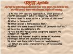 1) As the 14 th century approached, what period of rebirth developed? What is meant by rebirth?