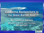 Educating Backpackers to the Great Barrier Reef