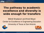 The pathway to academic excellence and diversity is wide enough for transfers