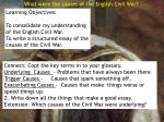 What were the causes of the English Civil War?