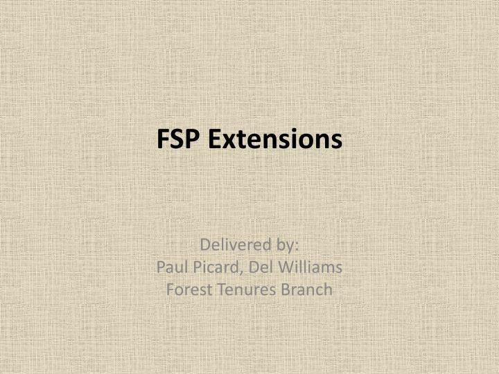 fsp extensions n.