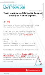 Texas Instruments Information Session Society of Women Engineer