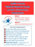 Gallia County  Medical Reserve Corps 10 Year Anniversary Celebration