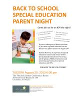Back to school Special education Parent night