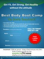 Best Body Boot Camp No  Boots Required !!