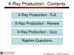 X-Ray Production: Contents