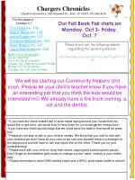 Chargers Chronicles Cheatham Elementary, 1501 Hopewell Dr., Allen, TX 75013 972-396-3016