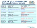 2014 FACE F2F , Academia, and Outreach Dates and Venues