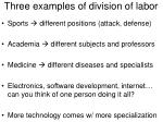 Three examples of division of labor