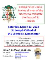 Bishop Peter Libasci  invites all men of the diocese to celebrate the Feast of St. Joseph