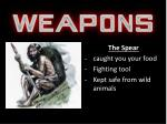 The Spear caught  you your  food Fighting tool Kept safe from wild animals