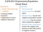 3.0/4.0/5.0 Expressions/ Equations Cheat Sheet
