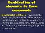 Combination of elements to form compounds