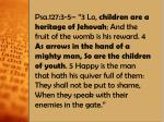 "Children are ""as arrows in the hand of a mighty man"" Arrows are used to provide food"