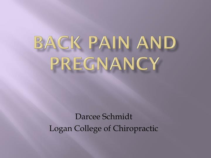 back pain and pregnancy n.