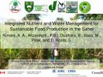 Integrated Nutrient and Water Management for Sustainable Food Production in the Sahel