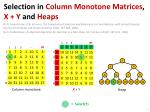 Selection  in  Column Monotone Matrices ,  X + Y  and  Heaps