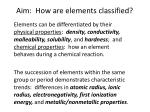 Aim:  How are elements classified?