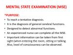 MENTAL STATE EXAMINATION (MSE)