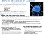 Benefits of Exercise on Cognition By Mackenzie Jackson