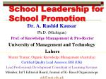 School Leadership for School Promotion