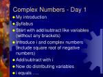 Complex Numbers - Day 1