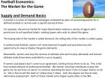 Football Economics: The Market for the Game Supply and Demand Basics