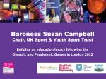 Baroness Susan Campbell Chair, UK Sport & Youth Sport Trust